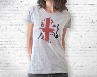 Sherlock Holmes T-shirt-Sherlock UK flag T-shirt-Sherlock tank top-women t-shirt-men tees-graphic tees-cool tees-t-shirt-NATURAPICTA-NPTS112