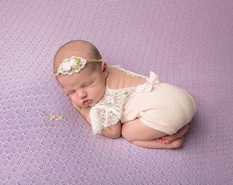 Newborn Pink Lace Romper, Baby Girl, Clothing, Lace, Pink, sweater knit, Photography Prop, Newborn Clothing