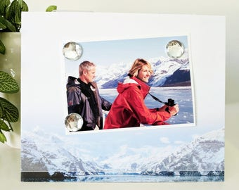 Alaskan Glaciers - Magnetic Picture Frame Handmade Gift Present Home Decor by Frame A Memory Size 9 x 11 Holds 5 x 7 Photo - Cruise Vacation