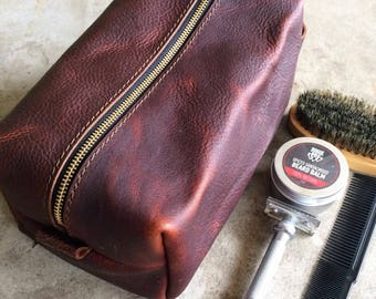 Leather Dopp kit, toiletry lit, toiletry case, travel, traveling bag, shaving, groomsmen gift, groomsman, him, husband, third anniversary