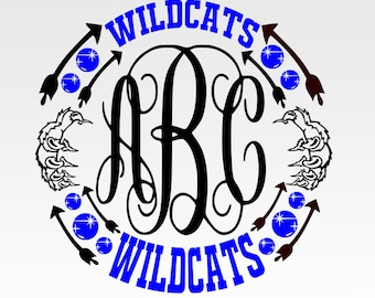 Wildcats Paw Print Monogram Frame  SVG, DXF, png, jpg digital cut file for Silhouette or Cricut