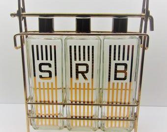 Vintage Liquor Decanters with Holder, Display Rack Carrier Bar