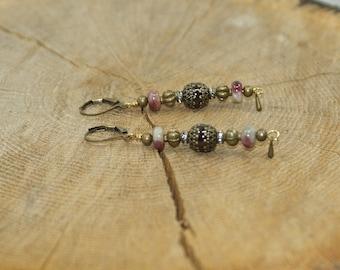 Earrings bronze antique gemstones and semi precious Garnet, tourmaline