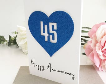 45th Anniversary Card, Wedding Anniversary, Sapphire Anniversary Gift, Personalised Card, Gift for Husband, Wife Gift, Gift for Couple, Blue