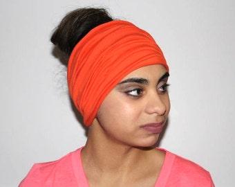 Orange Headband, Extra Wide Jersey Headband, Yoga Headband, Running Headband, Workout Headband, Fitness Headband, Turban Headband