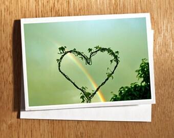Rainbow Heart Love CARD Original Photo on Nice Thick Card Stock Love, Heart, Rainbow, Arc en Ciel, Valentine, Love Photo Wedding Card,