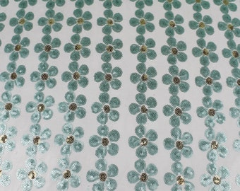 White Jade Caitlyn Floral Sequin on Mesh Fabric Style 2817