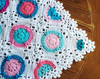 Crochet blanket Pattern tutorial/BabyLove Brand/CypressTextiles/Candy Puffs Blanket/circle square delicate antique traditional modern lace