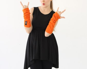 Texting Gloves | Long Fingerless Glove | Fingerless Gloves | Wrist Warmers | Hand Warmers | Arm Warmers | Thumbholes | Arm Warmers| Orange