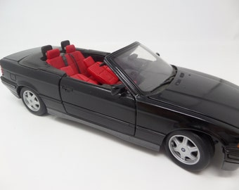 """Convertible Car, Black and Red BMW-1993 - 10"""" long - car collector, black convertible, large toy car, bmw model, cast metal bmw car"""