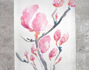 Japanese Magnolia Scarf - Watercolor Painting - Accessory Clothing