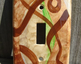 Abstract Flowing Ribion/Hand Painted/Light Switch Cover/Home Decor