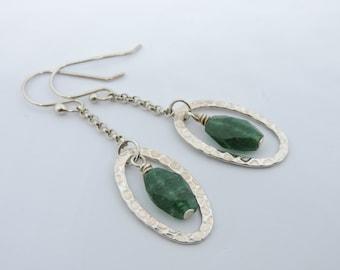 Green Aventurine Sterling Silver Hoop Earrings