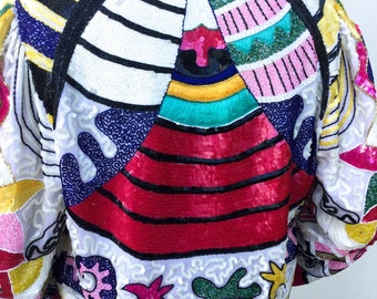 Stunning 1980's Colorful Silk Beaded and Sequined Jacket