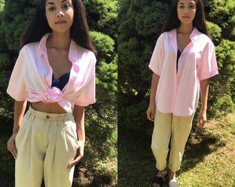 PINK cotton blouse / button up blouse / button down shirt / tie up shirt  / beach shirt / xs - l