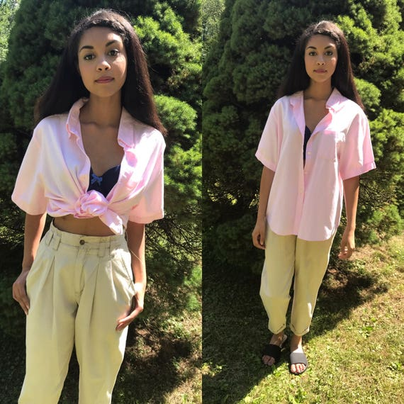 PINK cotton blouse / button up blouse / button down shirt / tie up shirt  / beach shirt / xs - l