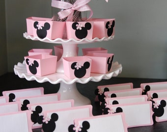 Minnie Mouse Decorations, Package, Minnie Mouse Candy Cups, Minnie Mouse Place Cards, Food Labels, Pink Black White