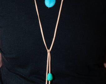 Faux Leather and Turquoise Lariat