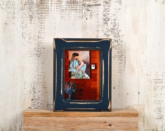 "5x7"" Picture Frame in Wide Bones Style with Super Vintage Navy Blue Finish - IN STOCK - Same Day Shipping - 5 x 7 Photo Frame - Rustic Frame"