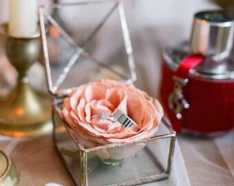 Wedding Ring Box -  Jewelry box - Engagement Ring Box - Jewel box  - Newlywed Gift - Ring Bearer Box - Small  Box - Geometric Ring Box glass