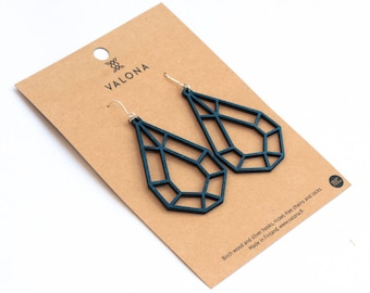 Drop crystal wooden earrings blue colour