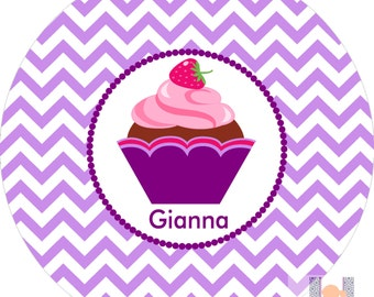 Personalized girls chevron cupcake purple dinner plate! Perfect for birthday gifts! A custom, fun and UNIQUE gift idea!