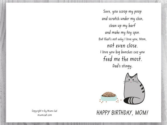 Printable birthday card for cat moms funny cat birthday card printable birthday card for cat moms funny cat birthday card for her printable birthday card for her instant download fur baby mom bookmarktalkfo Images