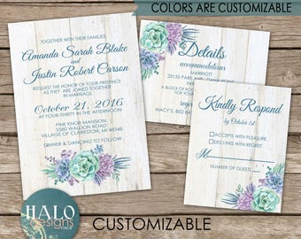 Rustic Succulent Wedding Invitation, ANY COLOR, Succulent wedding invitations, beach succulent wedding, rustic succulent