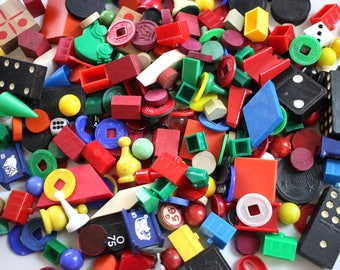 60 Vintage Game Piece Grab Bag - Mixed Media, Altered Art, Assemblage, Collage, Scrapbooking, Journal Supplies