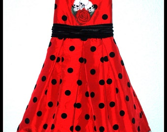 Girls Rockabilly Dress in Red and Black Polkadots and Skulls and Roses ........Size 6