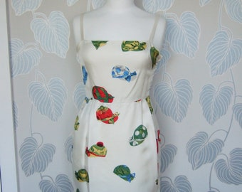 1990s Hermes Silk Dress Novelty Print