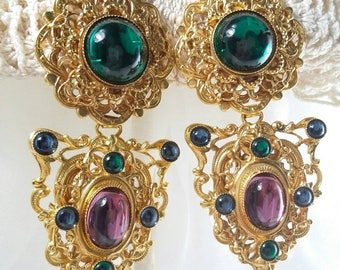 Byzantine Gripoix Glass Rare Runway Couture One of a Kind Signed Andrew Spingarn Clip on Earrings