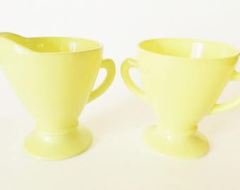 Vintage Chartreuse Cream and Sugar Set/Opaque Glass/Hazel Atlas/Retro 1950s Serving Dishes - Yellow, Green