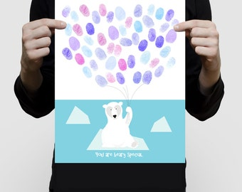 "polar bear fingerprint balloon guest book baby shower or birthday - 11x14"" print - nursery art, animal, arctic, winter ice, blue, customised"