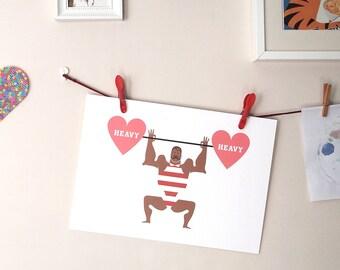 Strongman print – circus illustration art print, kids room art, nursery art