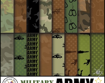 INSTANT DOWNLOAD Military ARMY set 1 with 16 jpg files Digital scrapbooking papers paratroopers black hawk chopper dog tags camouflage stars
