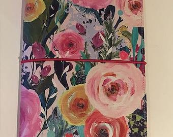 """Traveller's Notebook """"Flower-garden"""" including one Kraft insert booklet in gift box"""