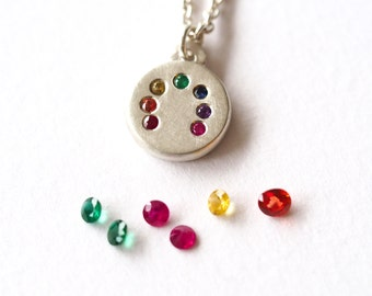 Rainbow Necklace, Handmade Silver & Precious Stones, Rainbow Pendant, Precious Jewellery, Colourful Necklace