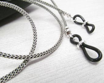 Metal Mesh and Black Leather Eyeglass Leash; Eyeglass Chain; Reading Glasses Necklace Holder; Glasses Cord; For Men; mesh glasses chain