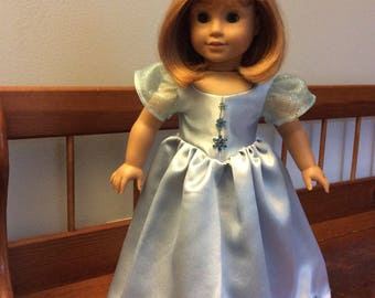 Snowflake ice blue gown with crown made for an 18 inch doll like American girl