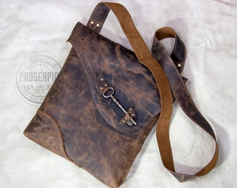 OOAK Raw Edge Leather Messenger Bag with Antique Skeleton Key, Distressed Brown Leather Laptop Carryall, Distressed Leather Messenger