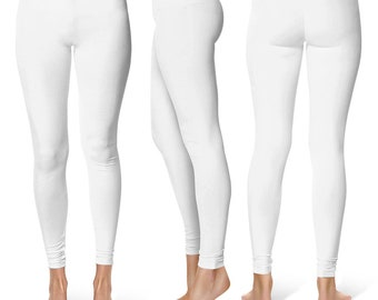 Womens White Capris and Leggings, Yoga Workout Pants, Mid Rise Waist Solid White Leggings