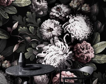 Floral wallpaper etsy dark floral wallpaper peony wallpaper black floral wallpaper dutch botanical flowers not mightylinksfo