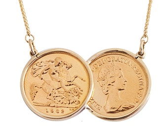 Half Sovereign Two Coin Necklace