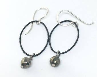 Oval Hoops with Pyrite