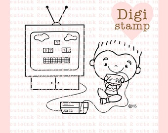 I Heart Video Games Digital Stamp - Video Game Stamp - Digital VIdeo Game Stamp - boy and girl Art - Video Game Card Supply