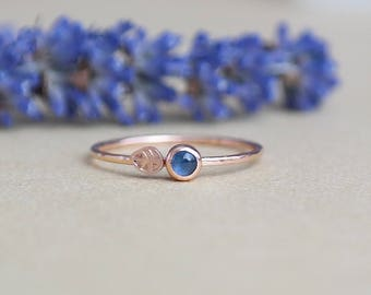 Sapphire Ring, Gold Ring, Rose Gold, Rose Gold Sapphire Ring, Birthstone Ring, Dainty Ring, Gold Stacking Rings, 9ct Gold Ring