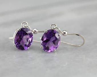 Royal Purple Amethyst Sterling Silver Drop Earrings, February Birthstone JDQ4YH1H-D