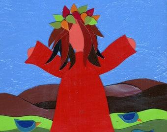 whimsical, folk art, handmade, collage, happy girl, autumn, gratitude,