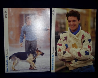 Vintage knitting patterns mens jumpers